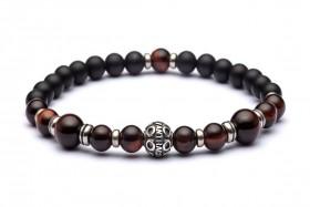 MULADHARA bracciale 1° chakra in pietre dure naturali: agata nera satinata e occhio di tigre rosso