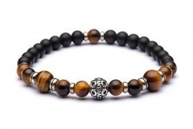 MANIPURA bracciale 3° chakra in pietre dure naturali: agata nera satinata e occhio di tigre marrone