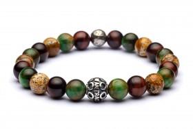 ARES Bracciale in occhio di tigre verde, occhio di tigre rosso, paesina e sfera in argento invecchiato a mano