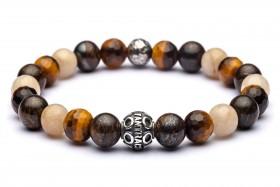 PEGASO braccialetto uomo argento  925 invecchiato e pietre dure naturali agata, bronzite, occhio di tigre