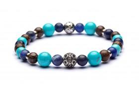 Braccialetto da uomo in labradorite blu, diaspro marrone, howlite e argento - CARAIBI by Antracite