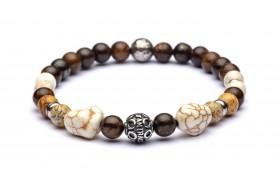 MARRAKECH bracciale argento invecchiato, bronzite, paesina, howlite bianca e sfera in argento 925