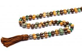 Karma - Mala tibetano 108 grani in turchese africano, bronzite, paesina 100% made in italy artigianale