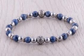 Bracciale da uomo con sfera in argento 925, labradorite blu e ematite - Ginevra by Antracite